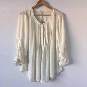 Daniel Rainn Ivory Ruffled Long Sleeve Sheer Blous